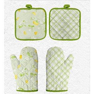 Комплект кухонный (Прихватка-Рукавица 18*28 + Прихватка 18*18) 'Романтика' Лимонный сад