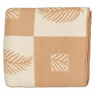 """Одеяло шерстяное """"Лист"""", белый, бежевый"""