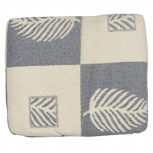 """Одеяло шерстяное """"Лист"""", серый, голубой, белый, 200*220 см"""