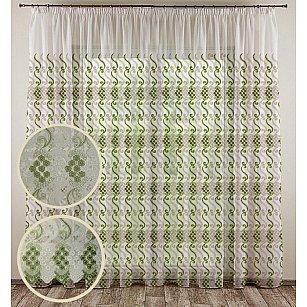 """Тюль """"Росыпь цветов"""", зеленый, 300*270 см"""