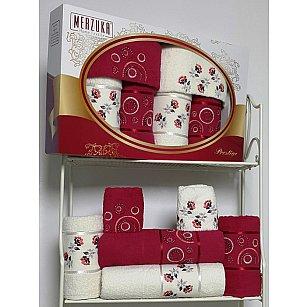 Комплект из 6-ти полотенец Merzuka Prestij в коробке (30*50*2; 50*90*2; 70*140*2), бордовый