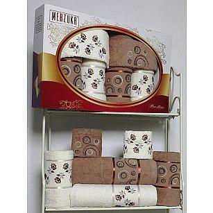 Комплект из 6-ти полотенец Merzuka Prestij в коробке (30*50*2; 50*90*2; 70*140*2),  коричневый