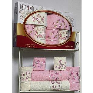 Комплект из 6-ти полотенец Merzuka Prestij в коробке (30*50*2; 50*90*2; 70*140*2),  розовый