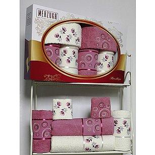 Комплект из 6-ти полотенец Merzuka Prestij в коробке (30*50*2; 50*90*2; 70*140*2),  светло-розовый