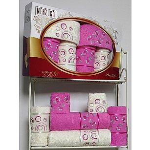 Комплект из 6-ти полотенец Merzuka Prestij в коробке (30*50*2; 50*90*2; 70*140*2),  тёмно-розовый