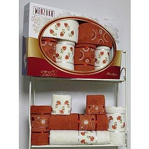 Комплект из 6-ти полотенец Merzuka Prestij в коробке (30*50*2; 50*90*2; 70*140*2),  терракотовый