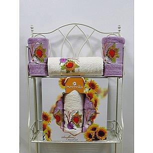 Комплект из 3-х полотенец Merzuka Sunflower в коробке (50*80*2; 70*130*1),  сиреневый