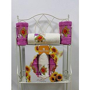 Комплект из 3-х полотенец Merzuka Sunflower в коробке (50*80*2; 70*130*1),  светло-лиловый