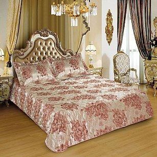 Покрывало I.M.A. LUX Жаккард с наволочками №101, золотой, розовый