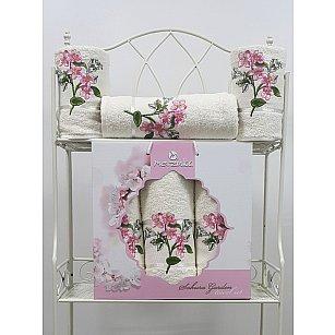 Комплект махровых полотенец Sakura Garden в коробке (50*80; 70*130), кремовый