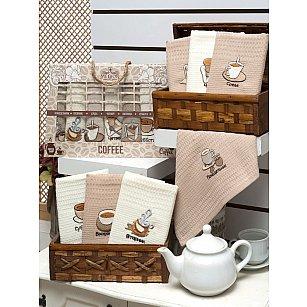 Комплект вафельных салфеток Meteor Неделька Кофе в коробке, 40*60 см - 7 шт