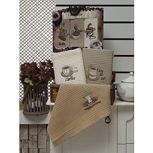 Комплект вафельных салфеток Meteor Cofe Lux в коробке, коричневый, 40*60 см - 3 шт