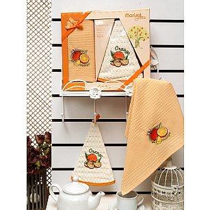 Комплект вафельных салфеток Meteor Marisol Meyveli в коробке (50*50; 50*70), оранжевый