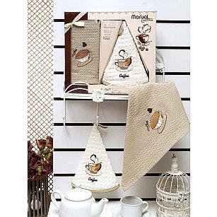 Комплект вафельных салфеток Meteor Marisol Kahve в коробке (50*50; 50*70)