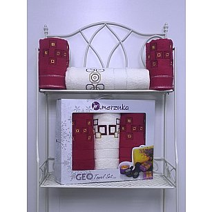 Комплект из 3-х махровых полотенец Geo в коробке (50*90; 70*140), бордовый