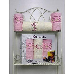 Комплект из 3-х махровых полотенец Geo в коробке (50*90; 70*140), светло-розовый
