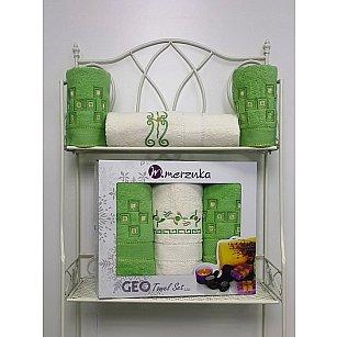 Комплект из 3-х махровых полотенец Geo в коробке (50*90; 70*140), светло-зеленый