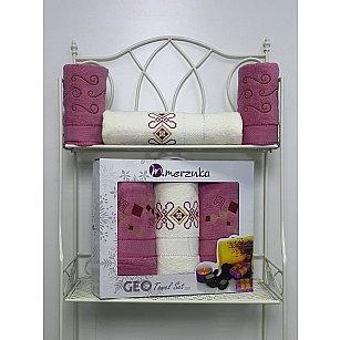 Комплект из 3-х махровых полотенец Geo в коробке (50*90; 70*140), темно-розовый
