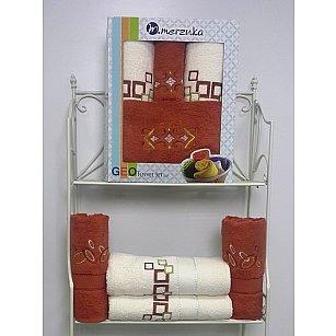 Комплект из 4-х махровых полотенец Geo в коробке (50*90; 70*140), терракотовый