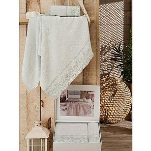 Комплект полотенец Бамбук ANJELIG с гипюром в коробке (50*90; 70*140), мятный
