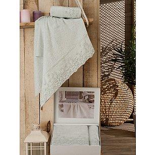 Комплект полотенец Бамбук Calina с гипюром в коробке (50*90; 70*140), мятный