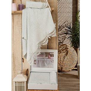 Комплект полотенец Бамбук Mercy с гипюром в коробке (50*90; 70*140), мятный
