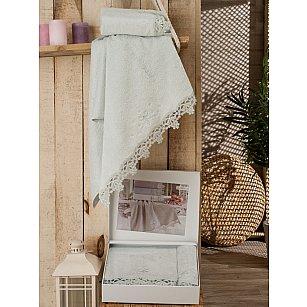 Комплект полотенец Бамбук Lady с гипюром в коробке (50*90; 70*140), мятный