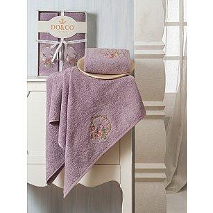 Комплект махровых полотенец Yasmin в коробке (50*90; 70*140), баклажан