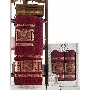 Комплект из 2-х полотенец Two Dolphins Greek Class в коробке (50*90; 70*140), бордовый