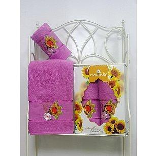 Комплект махровых полотенец Sunflower в коробке (50*80; 70*130), светло-лиловый