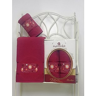 Комплект из 2-х полотенец Merzuka Prestij в коробке (50*90; 70*140), бордовый