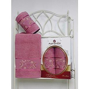 Комплект из 2-х полотенец Merzuka Prestij в коробке (50*90; 70*140), брусничный