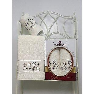 Комплект из 2-х полотенец Merzuka Prestij в коробке (50*90; 70*140), кремовый