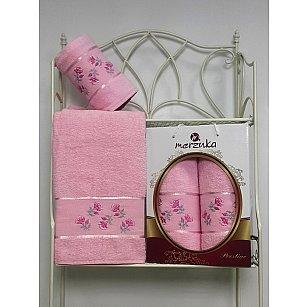 Комплект из 2-х полотенец Merzuka Prestij в коробке (50*90; 70*140), светло-розовый