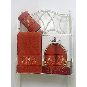 Комплект из 2-х полотенец Merzuka Prestij в коробке (50*90; 70*140), терракотовый