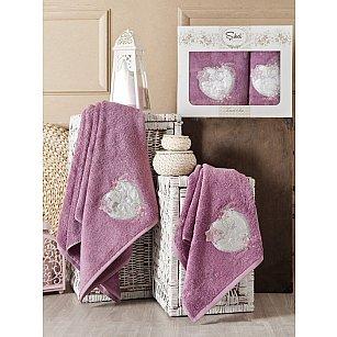 Комплект полотенец Бамбук с вышивкой Simli Kalp в коробке (50*90; 70*140), фиолетовый
