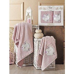 Комплект полотенец Бамбук с вышивкой Simli Kalp в коробке (50*90; 70*140), лиловый