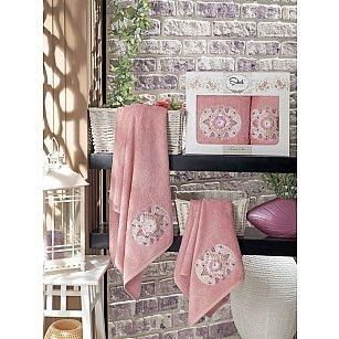 Комплект полотенец Бамбук с вышивкой Kamelya в коробке (50*90; 70*140), пудра