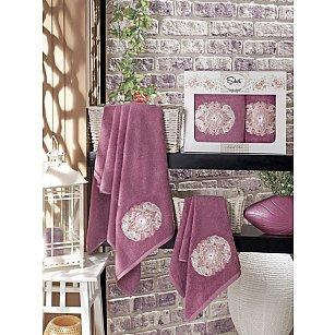 Комплект полотенец Бамбук с вышивкой Kamelya в коробке (50*90; 70*140), фиолетовый
