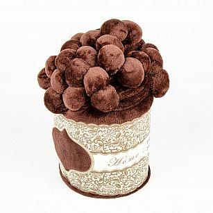 Плед с помпонами, шоколад, 200*220 см
