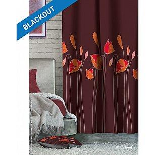 Шторы Лофт Блэкаут Floral, бордовый