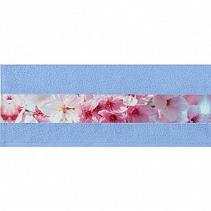 """Полотенце """"Aquarelle Фотобордюр цветы-1"""", светло-васильковый"""
