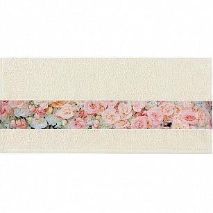 """Полотенце """"Aquarelle Фотобордюр цветы-4"""", ваниль"""
