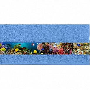 """Полотенце """"Aquarelle Фотобордюр подводный мир"""", спокойный синий"""