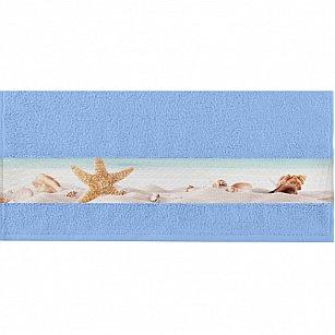 """Полотенце """"Aquarelle Фотобордюр ракушки-2"""", светло-васильковый, 50*90 см"""