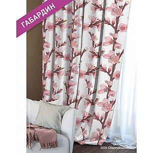 Шторы Этно Габардин Сherry Blossoms, белый, розовый