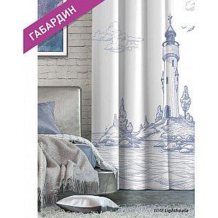 Шторы Лофт Габардин Lighthouse, белый, синий