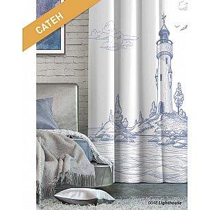 Шторы Лофт Сатен Lighthouse, белый, синий