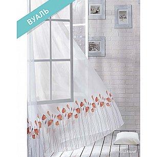 Комплект штор Лофт Вуаль Floral, белый, красный