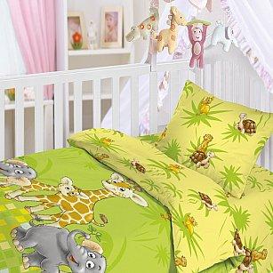 """КПБ с простынью на резинке """"Джунгли"""" (Новорожденный), желтый, зеленый"""